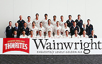 PICTURE BY VAUGHN RIDLEY/SWPIX.COM - Cricket - County Championship - Lancashire County Cricket Club 2012 Media Day - Old Trafford, Manchester, England - 03/04/12 - The Lancashire CCC players, coaches and management gather in The Point for the 2012 photo call.  Thwaites Wainwright sponsor competition winner.