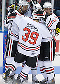 Anthony Bitetto (Northeastern - 7), Wade MacLeod (Northeastern - 19), Rob Dongara (Northeastern - 39) and Garrett Vermeersch (Northeastern - 9) celebrate MacLeod's goal. - The Northeastern University Huskies defeated the visiting Providence College Friars 5-0 on Saturday, November 20, 2010, at Matthews Arena in Boston, Massachusetts.