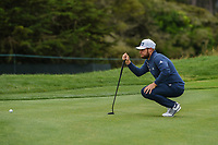 Tyrrell Hatton (ENG) lines up his putt on 11 during round 3 of the 2019 US Open, Pebble Beach Golf Links, Monterrey, California, USA. 6/15/2019.<br /> Picture: Golffile | Ken Murray<br /> <br /> All photo usage must carry mandatory copyright credit (© Golffile | Ken Murray)