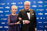 Le prince Laurent de Belgique et sa fille la princesse Louise de Belgique lors de la 9ème Cérémonie des Magritte du Cinéma, qui récompense le septième art belge, au Square, à Bruxelles.<br /> Belgique, Bruxelles, 2 février 2019.<br /> Prince Laurent of Belgium and her daughter princess Louise pictured during the 9th edition of the Magritte du Cinema awards ceremony, <br /> Belgium, Brussels, 2 February 2019.