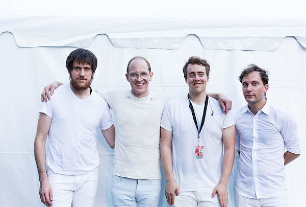 July 26, 2014. Carrboro, North Carolina.<br />  (left to right) Brad Weber, Dan Snaith, Ryan Smith and John Schmersal of Caribou.<br />  Day four of the MERGE 25 festival, celebrating the 25 year history of the independent record label.