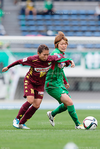 (L to R) <br /> Risa Fukasawa (Jef Ladies), <br /> Mizuho Sakaguchi (Beleza), <br /> OCTOBER 31, 2015 - Football / Soccer : <br /> Plenus Nadeshiko League 2015 <br /> between NTV Beleza 2-0 Jef Chiba Ladies <br /> at Komazawa Olympic Park Stadium, Tokyo, Japan. <br /> (Photo by AFLO SPORT)