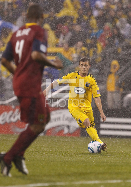 24 APRIL 2010:  Robbie Rogers of the Columbus Crew (19) during the Real Salt Lake at Columbus Crew MLS soccer game in Columbus, Ohio. Columbus Crew defeated RSL 1-0 on April 24, 2010.