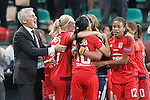 Olympique Lyonnais's coach Gerard Precheur celebrates with his players the victory in the UEFA Women's Champions League 2015/2016 Final match.May 26,2016. (ALTERPHOTOS/Acero)