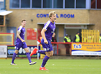 Cameron McGeehan of Luton Town celebrates his opening goal during the Sky Bet League 2 match between Stevenage and Luton Town at the Lamex Stadium, Stevenage, England on 20 August 2016. Photo by Liam Smith.