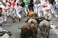 Fifth bull runing of San Fermin at Pamplona, with bulls of the ranch of Jandilla. July 11, 2016. (ALTERPHOTOS/Rodrigo Jimenez) /NortePhoto.com