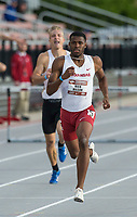 NWA Democrat-Gazette/BEN GOFF @NWABENGOFF<br /> Nick Hilson of Arkansas leads the men's 400 meter hurdles Friday, April 12, 2019, at the John McDonnell Invitational at John McDonnell field in Fayetteville. Hilson won with a time of 51.89 seconds.