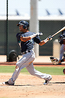 Jorge Agudelo #91 of the Seattle Mariners plays in an extended spring training game against the Cleveland Indians at the Indians minor league complex on May 14, 2011  in Goodyear, Arizona. .Photo by:  Bill Mitchell/Four Seam Images.