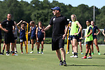CARY, NC - JUNE 29: Paul Riley coaches his team. The North Carolina Courage held a training session on June 29, 2017, at WakeMed Soccer Park Field 6 in Cary, NC.