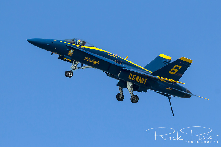 Pilot Lt. Tyler Davies pilots the Opposing Solo, Blue Angel 6, in landing configuration.