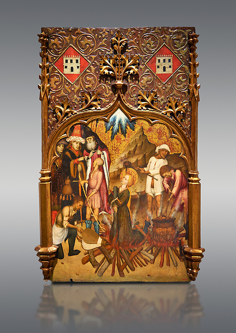 Gothic altarpiece tableau of the Archangel Gabriel  by Joan Mates of Vlafranca de Penedes, circa 1410-1430, tempera and gold leaf on for wood from the church of Santa Maria de Penafel, Alt Penedes, Spain.  National Museum of Catalan Art, Barcelona, Spain, inv no: MNAC  214533.