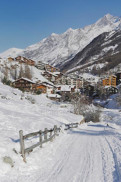 Road in winter, Zermatt, Valais, Switzerland