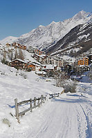 Road in winter, Zermatt, Valais, Switzerland