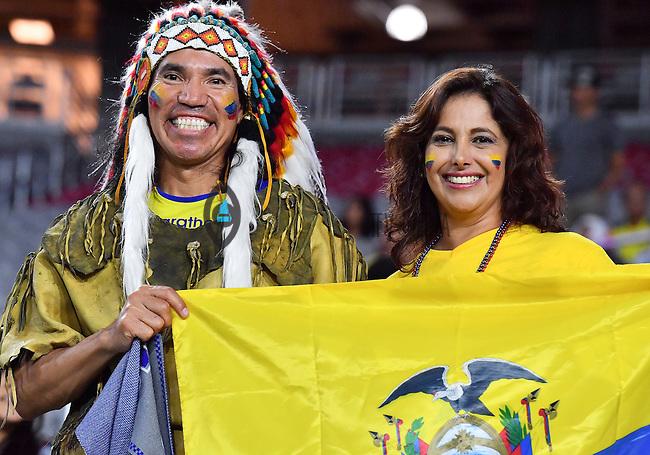 Ecuador fans hold their national flag during Copa America Centenario group B match, in Glendale, AZ. Wednesday, Jun 08, 2016. (TFV Media via AP) *Mandatory Credit*
