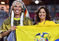 Ecuador fans hold their national flag during Copa America Centenario group B match, in Glendale, AZ. Wednesday, Jun 08, 2016. (TFV Media via AP) *Mandatory Credit*