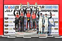 IMSA Continental Tire SportsCar Challenge<br /> Mobil 1 SportsCar Grand Prix<br /> Canadian Tire Motorsport Park<br /> Bowmanville, ON CAN<br /> Saturday 8 July 2017<br /> 57, Chevrolet, Chevrolet Camaro GT4.R, GS, Matt Bell, Robin Liddell, 28, Porsche, Porsche Cayman GT4, Dylan Murcott, Dillon Machavern, 68, McLaren, McLaren GT4, Kenny Wilden, JF Dumoulin, GS Podium, victory lane<br /> World Copyright: Scott R LePage/LAT Images