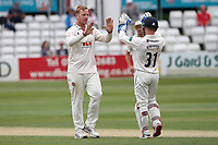 Simon Harmer of Essex celebrates taking the wicket of Rob Yates during Essex CCC vs Warwickshire CCC, Specsavers County Championship Division 1 Cricket at The Cloudfm County Ground on 14th July 2019