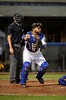Bluefield Blue Jays catcher Andres Guerra (17) in front of home plate umpire Adam Clark during the second game of a doubleheader against the Bristol Pirates on July 25, 2018 at Bowen Field in Bluefield, Virginia.  Bristol defeated Bluefield 5-2.  (Mike Janes/Four Seam Images)