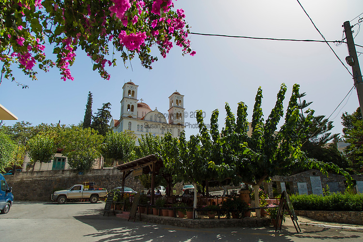 The village of Kandanos on the island of Crete was completely destroyed by the German occupation in World War Two. There is a lovely church in the village square along with a memorial to the massacre of the Cretans by German troops.  Greece, Europe