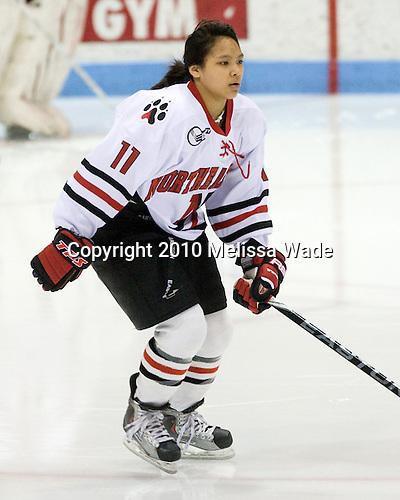 Rachel Llanes (NU - 11) - The University of Connecticut Huskies defeated the Northeastern University Huskies 4-1 in Hockey East quarterfinal play on Saturday, February 27, 2010, at Matthews Arena in Boston, Massachusetts.