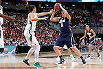 01 APRIL 2012:  Stefanie Dolson (31) of the University of Connecticut puts a move on Natalie Achonwa (11) of the University of Notre Dame during the Division I Women's Final Four Semifinals at the Pepsi Center in Denver, CO.  Notre Dame defeated UCONN 83-75 to advance to the national championship game.  Jamie Schwaberow/NCAA Photos