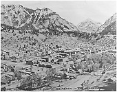 Town of Ouray looking south with Mt. Abram in the distance.  Ouray depot at lower right.<br /> D&amp;RGW  Ouray, CO