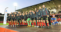 20170613 - LEUVEN ,  BELGIUM : Belgian team celebrating with the fans after the female soccer game between the Belgian Red Flames and Japan , a friendly game before the European Championship in The Netherlands 2017  , Tuesday 13 th Juin 2017 at Stadion Den Dreef  in Leuven , Belgium. PHOTO SPORTPIX.BE | DIRK VUYLSTEKE