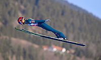 1st January 2020, Olympiaschanze, Garmisch Partenkirchen, Germany, FIS World cup Ski Jumping, 4-Hills competition; Philipp Aschenwald GER in the air jumping