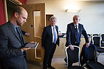 © Joel Goodman - 07973 332324 . 29/05/2015 . Leigh , UK . Sir Richard Leese (r) announces Tony Lloyd (c) as interim Mayor of Greater Manchester in what is the UK's first devolved Mayorilty with such power , outside of London . Photo credit : Joel Goodman