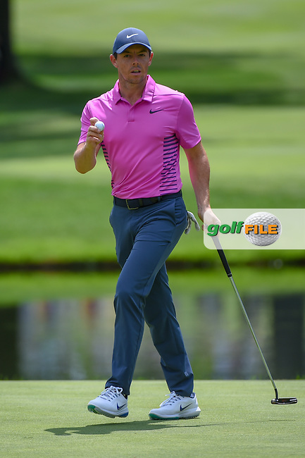 Rory McIlroy (NIR) sinks his putt on 3 during 2nd round of the World Golf Championships - Bridgestone Invitational, at the Firestone Country Club, Akron, Ohio. 8/3/2018.<br /> Picture: Golffile   Ken Murray<br /> <br /> <br /> All photo usage must carry mandatory copyright credit (© Golffile   Ken Murray)