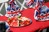 Pictured: Fresh fruit alongside British flag themed boxes and flags on the table at a street party in Cardiff. Saturday 19 May 2018<br /> Re: Prince Harry and Meghan Markle Royal Wedding Street Party at Avondale Crescent in Cardiff, Wales, UK.