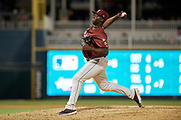 Frisco RoughRiders pitcher Demarcus Evans (43) during a Texas League game against the Amarillo Sod Poodles on July 12, 2019 at Dr Pepper Ballpark in Frisco, Texas.  (Mike Augustin/Four Seam Images)