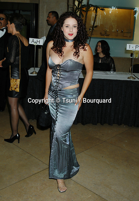 Yeni Alverez arriving at the Golden eagle Awards at the Beverly Hilton in Los Angeles. July 26, 2002.