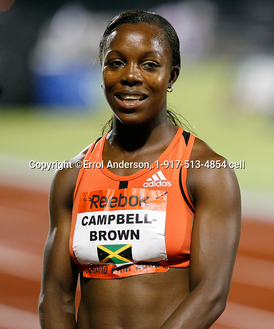 Veronica Campbell-Brown is all smiles after her victory in the 100m at the Reebok Grand Prix in New York City on Saturday, May 31, 2008. Photo by Errol Anderson, The Sporting Image.