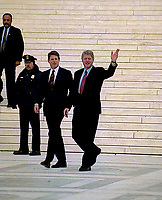 Washington, DC.,USA, December 8, 1992<br /> President-Elect William Jefferson Clinton and Vice-President-Elect Albert Gore Jr. walk down the front steps of the Supreme Court of the United States after their meeting with the members of the Court. This is a tradional meeting that occurs prior to the swearing in of the newly elected President and Vice-President the following month on January 20th. Credit: Mark Reinstein/MediaPunch
