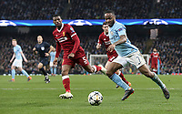 Manchester City's Raheem Sterling drives into the Liverpool box <br /> <br /> Photographer Rich Linley/CameraSport<br /> <br /> UEFA Champions League Quarter-Final Second Leg - Manchester City v Liverpool - Tuesday 10th April 2018 - The Etihad - Manchester<br />  <br /> World Copyright &copy; 2017 CameraSport. All rights reserved. 43 Linden Ave. Countesthorpe. Leicester. England. LE8 5PG - Tel: +44 (0) 116 277 4147 - admin@camerasport.com - www.camerasport.com