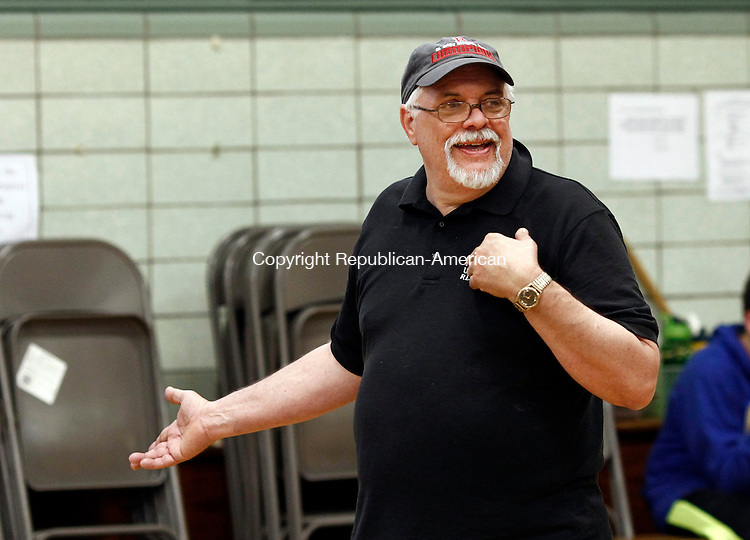 Waterbury, CT- 02 June 2014-060214CM06-  Bob Tansely, co-director of Children's Theater at Blessed Sacrament runs through rehearsal of Peter Pan at the school in Waterbury on Monday.  Christopher Massa Republican-American