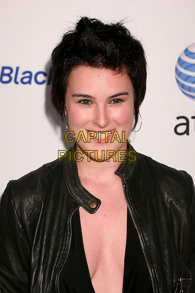 RUMER WILLIS.AT&T's BlackBerry Curve Launch Party at the Beverly Wilshire Hotel, Beverly Hills, California, USA,.31 May 2007..half length black shoes leather biker jacket low cut cleavage.CAP/ADM/BP.©Byron Purvis/AdMedia/Capital Pictures.