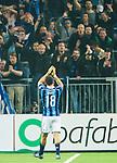 ***BETALBILD***  <br /> Stockholm 2015-05-25 Fotboll Allsvenskan Djurg&aring;rdens IF - AIK :  <br /> Djurg&aring;rdens Kerim Mrabti tackar Djurg&aring;rdens supportrar efter matchen mellan Djurg&aring;rdens IF och AIK <br /> (Foto: Kenta J&ouml;nsson) Nyckelord:  Fotboll Allsvenskan Djurg&aring;rden DIF Tele2 Arena AIK Gnaget supporter fans publik supporters jubel gl&auml;dje lycka glad happy