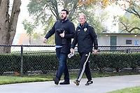 TUKWILA, WA - NOVEMBER 08: Head coach Brian Schmetzer of the Seattle Sounders FC with team staff member Matt Winter walks to training at Starfire Sports Complex on November 08, 2019 in Tukwila, Washington.