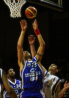 Arthur Trousdell beats Reece Cassidy to a rebound during the NBL Round 14 basketball match between the Wellington Saints and Auckland Stars at TSB Bank Arena, Wellington, New Zealand on Thursday 29 May 2008. Photo: Dave Lintott / lintottphoto.co.nz