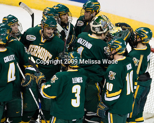 The Vermont Catamounts celebrate their win - The University of Vermont Catamounts defeated the Yale University Bulldogs 4-1 in their NCAA East Regional Semi-Final match on Friday, March 27, 2009, at the Bridgeport Arena at Harbor Yard in Bridgeport, Connecticut.