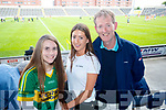 Caoimhe Reidy, Muireann and Derry McCarthy, Ballyheigue Kerry supporters for the double header in Portlaoise on Saturday.