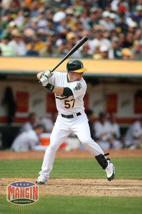 OAKLAND, CA - SEPTEMBER 20:  Aaron Cunningham of the Oakland Athletics bats during the game against the Seattle Mariners at the McAfee Coliseum in Oakland, California on September 20, 2008.  The Athletics defeated the Mariners 8-7.  Photo by Brad Mangin