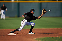 AZL D-backs Glenallen Hill Jr. (6) covers second base on a steal attempt during an Arizona League game against the AZL Angels on July 20, 2019 at Salt River Fields at Talking Stick in Scottsdale, Arizona. The AZL Angels defeated the AZL D-backs 11-4. (Zachary Lucy/Four Seam Images)