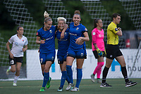 Seattle, WA - Saturday July 22, 2017: Beverly Yanez, Megan Rapinoe, Lindsay Elston during a regular season National Women's Soccer League (NWSL) match between the Seattle Reign FC and Sky Blue FC at Memorial Stadium.