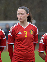 20150404 - FORST , GERMANY  : Belgian Silke Vanwynsberghe  pictured during the soccer match between Women Under 19 teams of Belgium and Ukraine , on the first matchday in group 5 of the UEFA Elite Round Women Under 19 at WaldseeStadion , Forst , Germany . Saturday 4th April 2015 . PHOTO DAVID CATRY