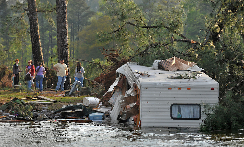 Damage to campers and RVs from an aparent tornado in South Sauty Campground on Lake Guntersville.  Bob Gathany Photo.