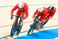 Picture by Alex Whitehead/SWpix.com - 09/12/2017 - Cycling - UCI Track Cycling World Cup Santiago - Velódromo de Peñalolén, Santiago, Chile - China's Jianxin Li, Yongjia Luo and Chao Xu during the Men's Team Sprint Bronze medal final.