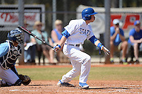 South Dakota State JackRabbits infielder Jordan Varga (26) at bat during a game against the Maine Black Bears at South County Regional Park on March 9, 2014 in Port Charlotte, Florida.  Maine defeated South Dakota 5-4.  (Mike Janes/Four Seam Images)